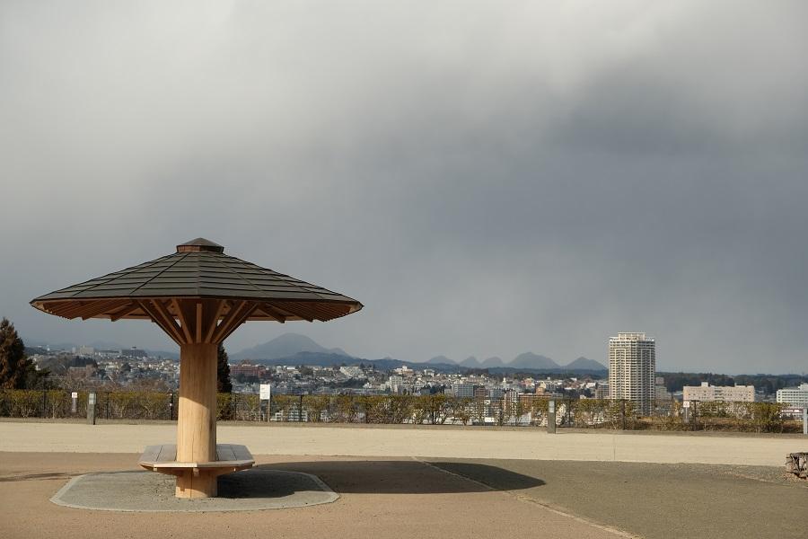 x-t3で撮影画質を評価仙台城の公園から市内を一望した別な角度の写真