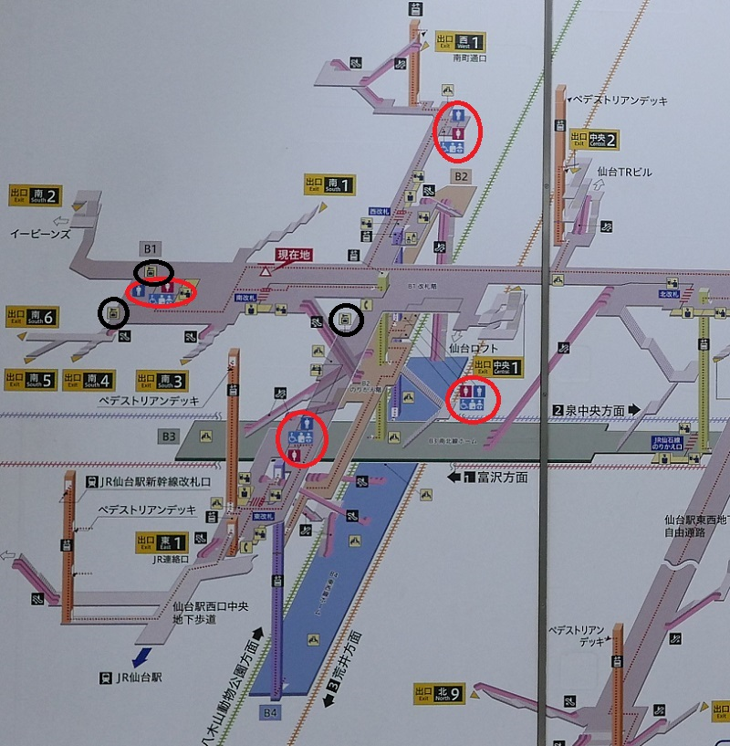 仙台地下鉄トイレと六花の配置図