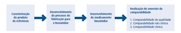 Estágios do desenvolvimento de um medicamento biossimilar.