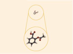 Estrutura simples, pequena, por exemplo, aspirina: 21 átomos.