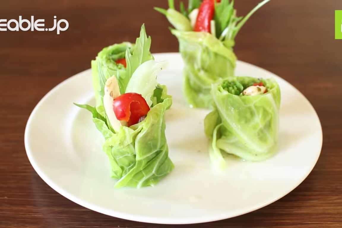 見た目が可愛らしくておしゃれ!キャベツの巻き巻きサラダの作り方・レシピ