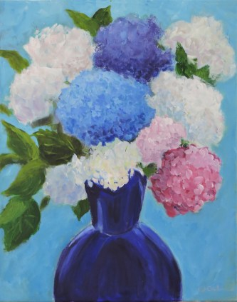 Hydrangeas in blue vase best