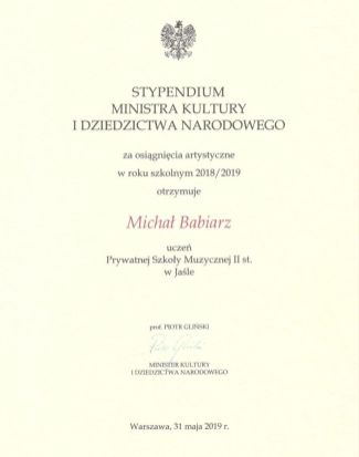 Michał Babiarz stypendium skan
