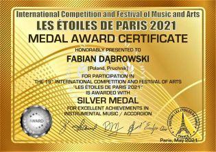 MEDAL AWARD CERTIFICATE silver medal_FABIAN DĄBROWSKI-1