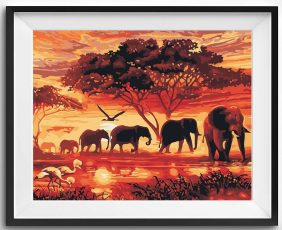Painting by numbers, Elephant herd kit.