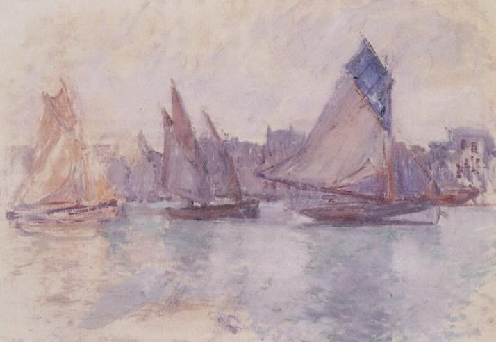 Моне лодки в порту Гавра