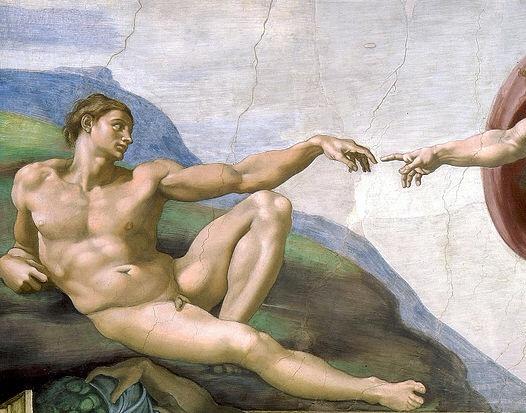 Фреска Микеланджело сотворение Адама