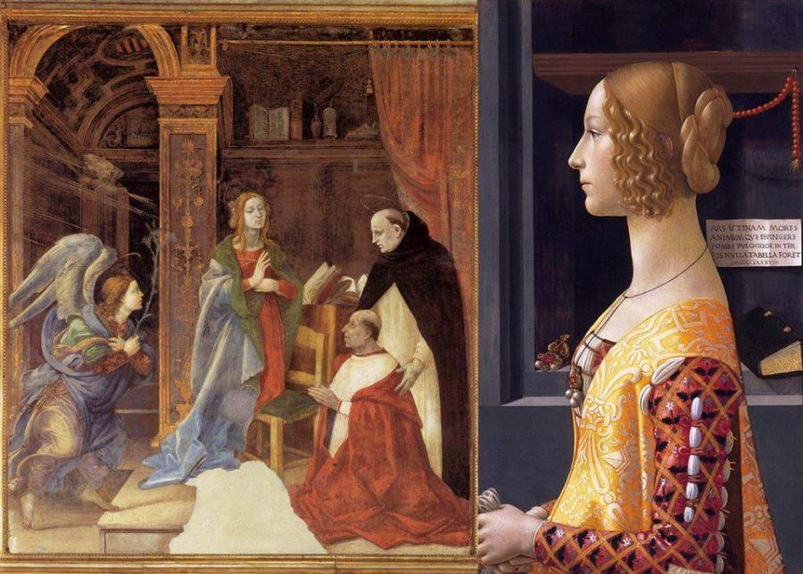 """Слева: Филиппино Липпи. Фреска """"Благовещение"""". Справа: Гирландайо. Джованна Торнабуони."""