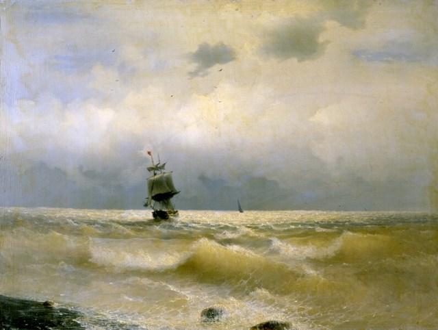 Айвазовский корабль у берега