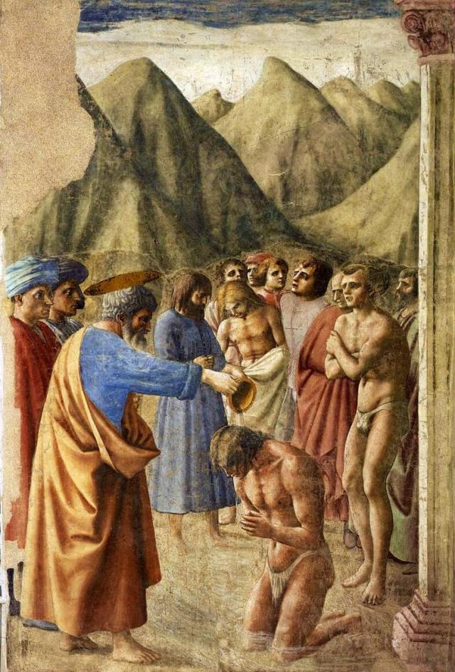 Мазаччо крещение неофитов