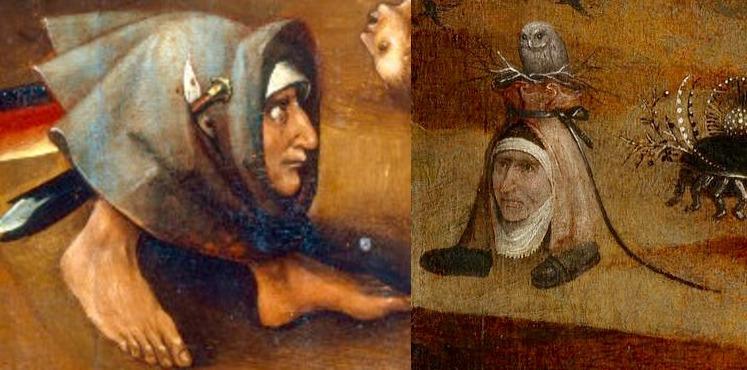 """Слева: фрагмент центральной части триптиха """"Страшный суд"""". Справа: фрагмент левой створки триптиха """"Святые отшельники""""."""