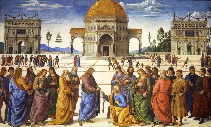 Перуджино передача ключей апостолу Петру