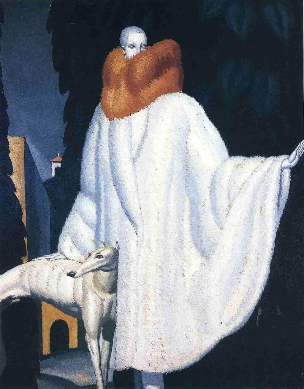 Дюпа женщина в меховой накидке