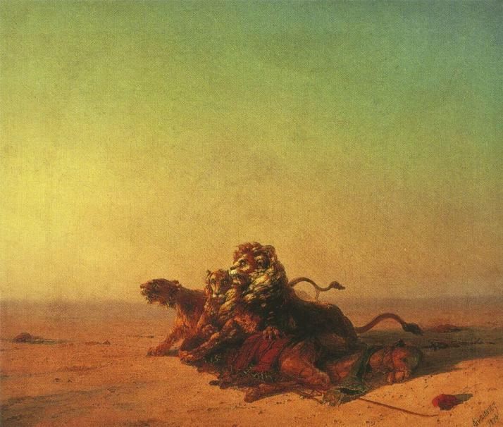 Айвазовский львы в пустыне