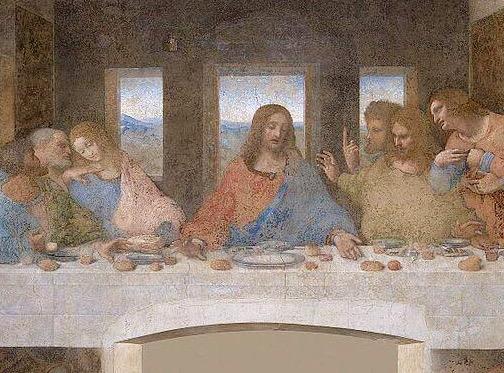 """Леонардо да Винчи. Фрагмент фрески """"Тайная вечеря"""""""
