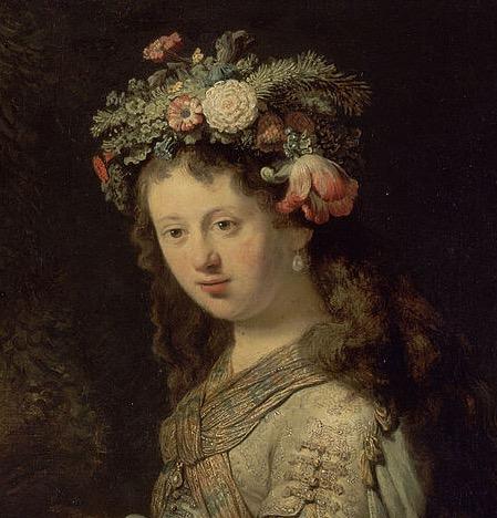 """Рембрандт. Фрагмент картины """"Саския в образе Флоры"""""""
