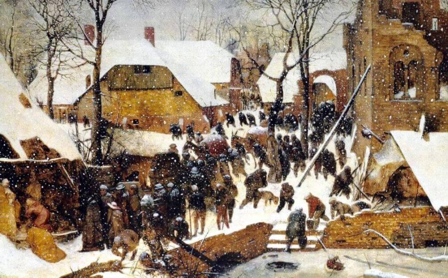 Брейгель поклонение волхвов в зимнем пейзаже