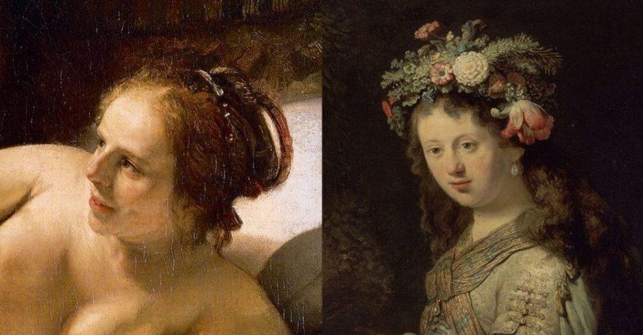 Справа: Рембрандт. Саския в образе Флоры (фрагмент). 1634 г. Государственный Эрмитаж.