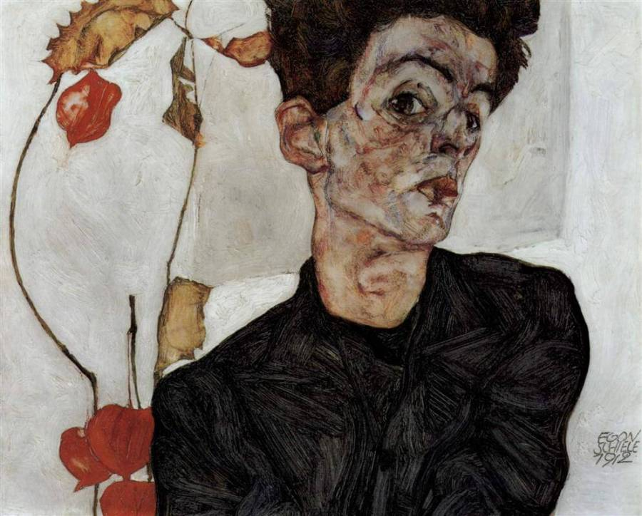 Шиле автопортрет с цветами-фонариками