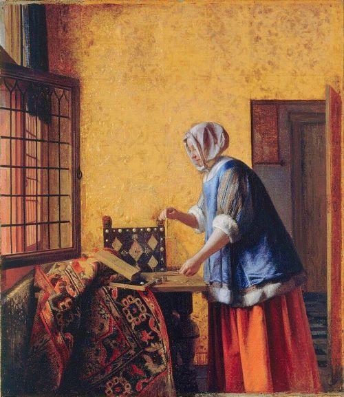 Питер де Хох женщина взвешивающая золото