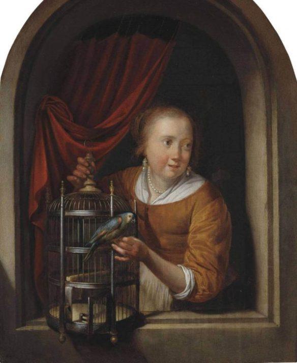 Герард Доу девушка с попугаем