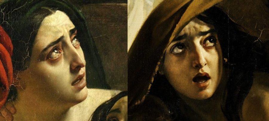Слева: К. Брюллов. Последний день Помпеи. Лицо женщины. Справа: К.Брюллов. Последний день Помпеи. Лицо девушки