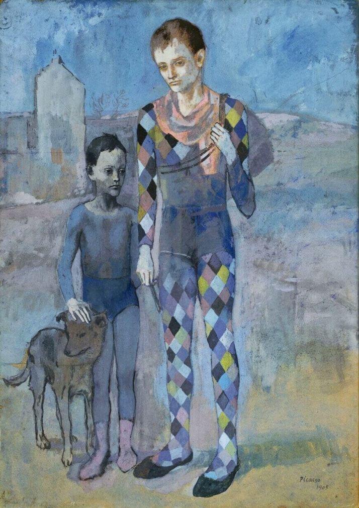 Пикассо два акробата с собакой