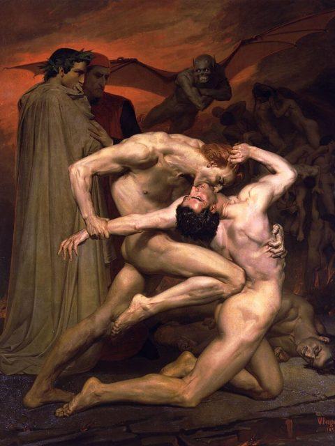Вильям Бугро. Данте и Вергилий в аду. 1850 г