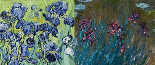 Слева: Винсент Ван Гог. Ирисы (фрагмент). 1889 г. Справа: Клод Моне. Ирисы и водяные лилии (фрагмент)