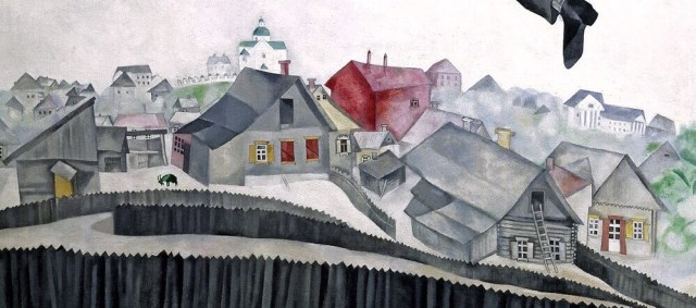 Марк Шагал над городом деталь