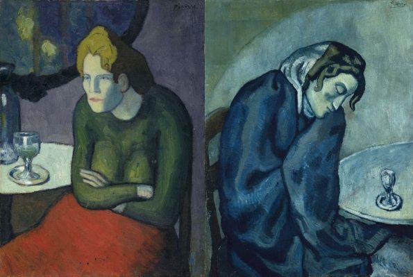 Слева: Любительница абсента. 1901 г. Художественный музей в Базеле. Справа: Пьяная уставшая женщина. 1902 г. Художественный музей в Берне