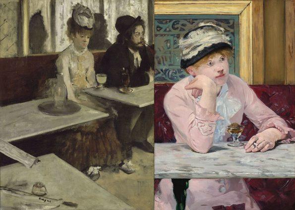 Слева: Эдгар Дега. Абсент. 1876 г. Музей Орсе, Париж. Справа: Эдуард Мане. Сливовица. 1877 г. Национальная галерея Вашингтона