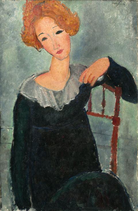 Модильяни рыжеволосая женщина