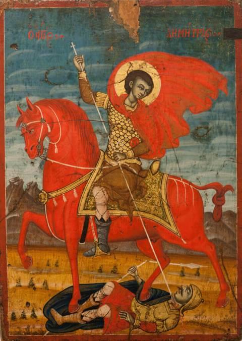 Икона Святой Дмитрий Солунский на коне
