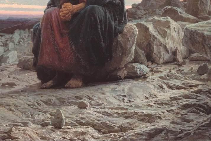 Христос в пустыне Крамской деталь