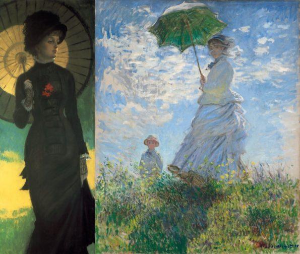 Слева: Джеймс Тиссо. Миссис Ньютон с зонтиком. Справа: Клод Моне. На прогулке.