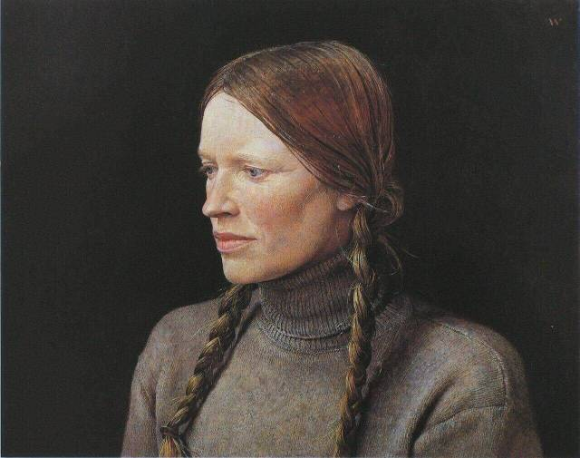 "Andrew Wyeth. Braids (from ""Helga"" series). 1979."