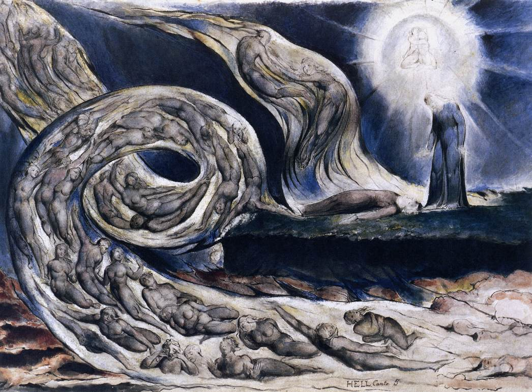 William Blake. The Whirlwind of Lovers. 1824-1827.