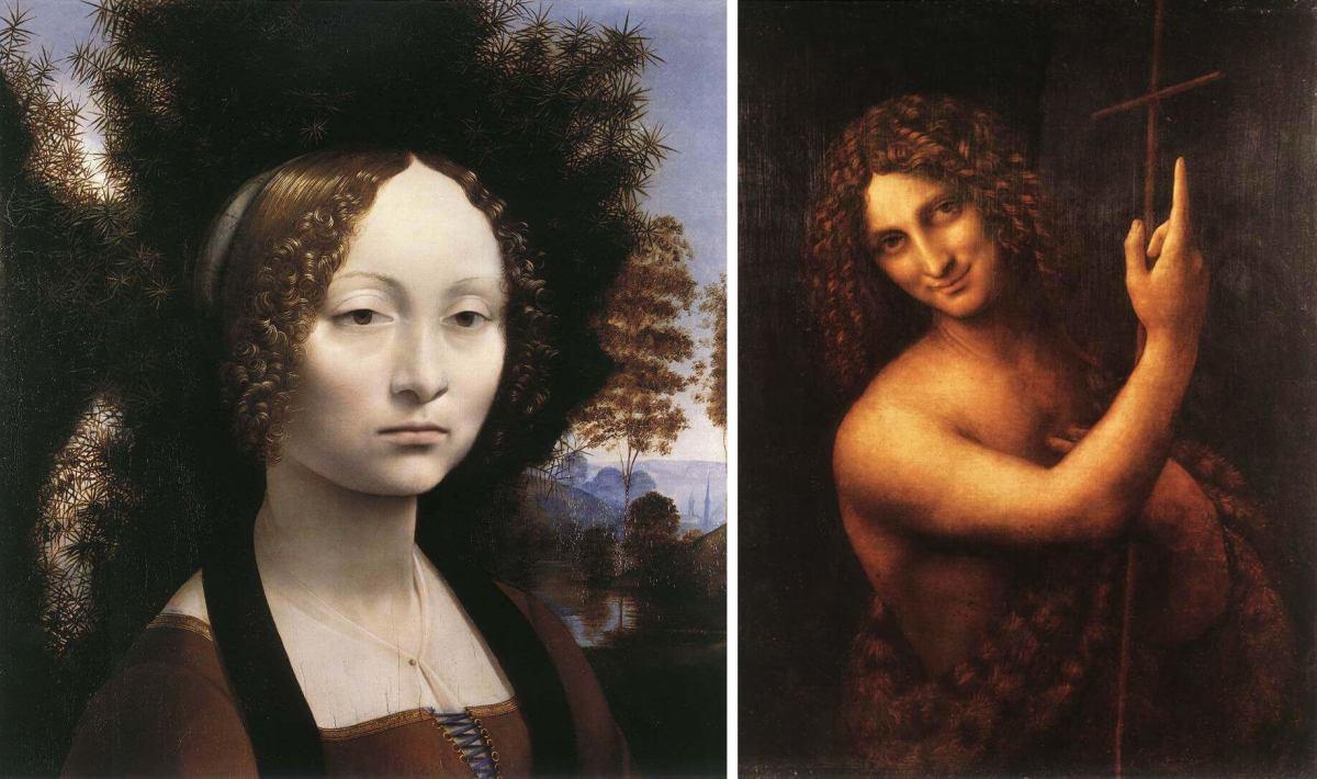 Leonardo's artworks portrait of Ginevra Benci and St. John the Baptist