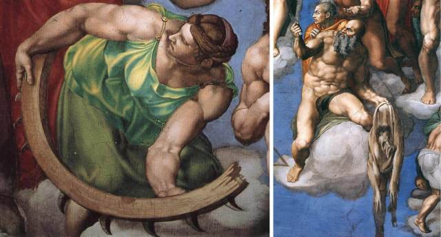 "Michelangelo. Fragments of the fresco ""The Last Judgment"""
