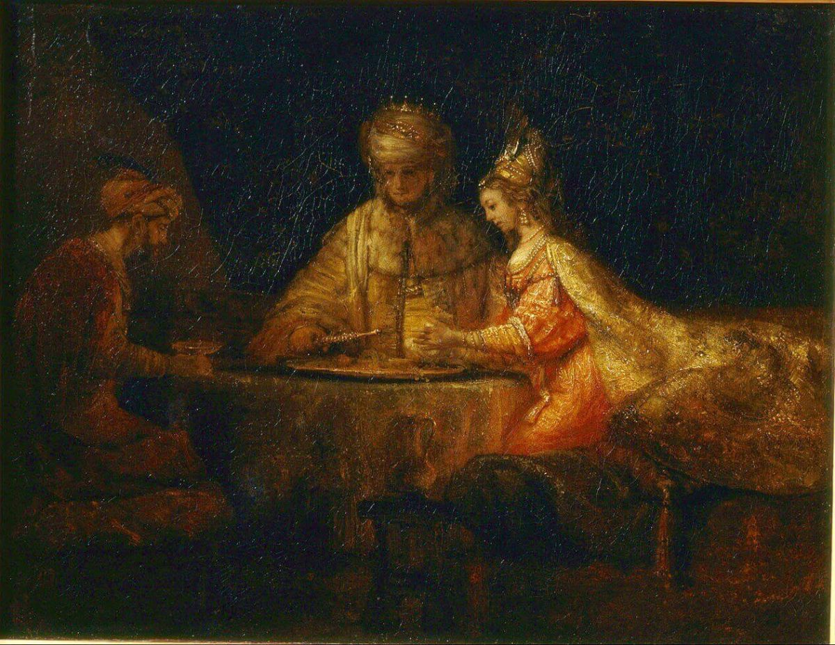 Rembrandt. Ahaseurus and Haman at the Feast of Esther