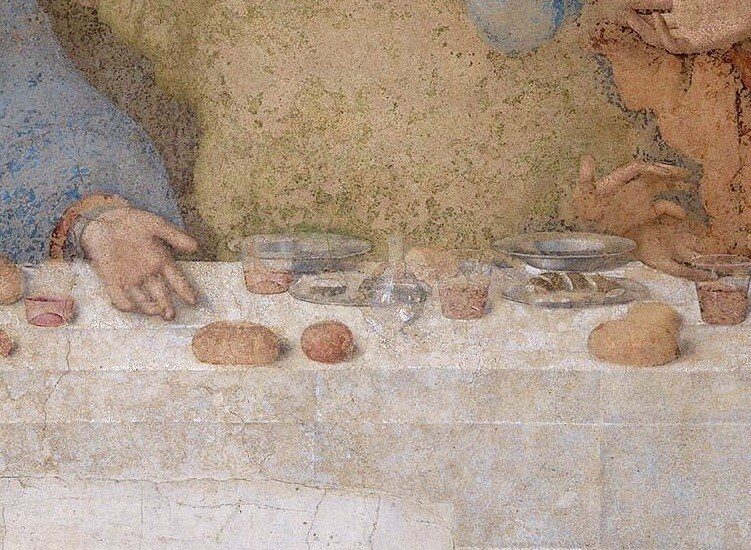 Leonardo da Vinci. Fragment of the Last Supper.