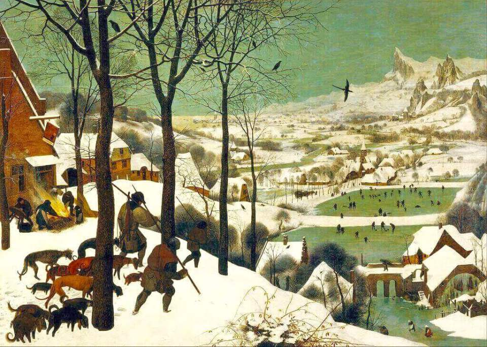 Bruegel. Hunters in the snow