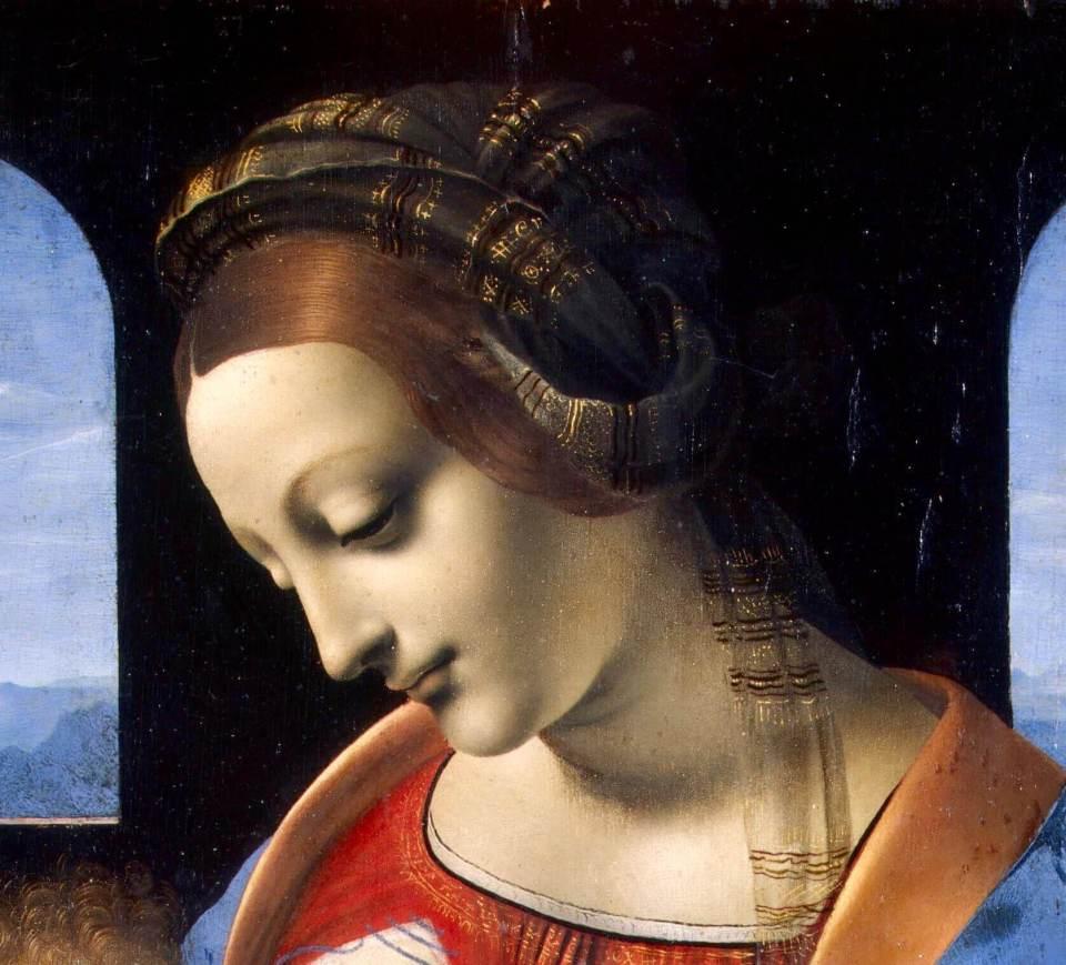 Leonardo da Vinci. Madonna Litta (fragment).