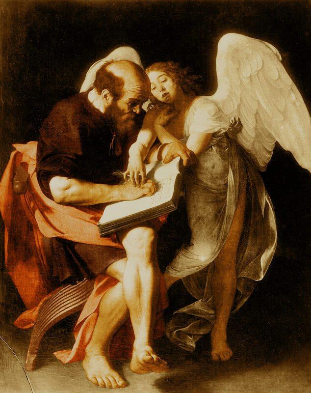 Caravaggio. Saint Matthew and the Angel. 1600 (Copy).