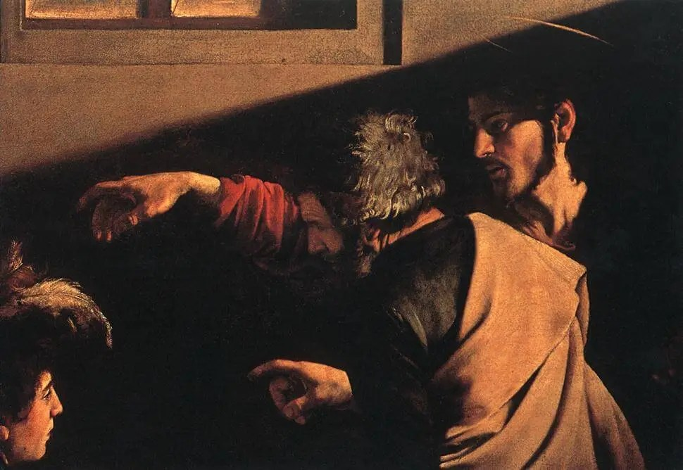 Caravaggio. The Calling of St. Matthew. Fragment. 1599-1600.