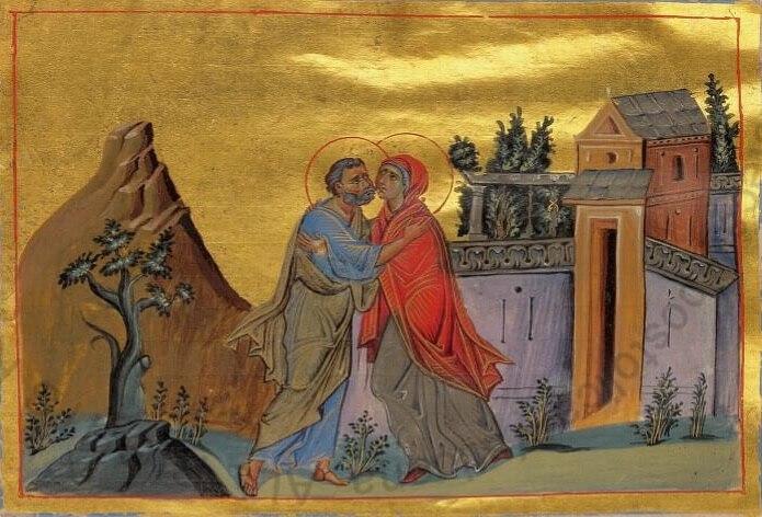 "Miniature ""Meeting at the Golden Gates"". Minology of Vasily II. 10th century."