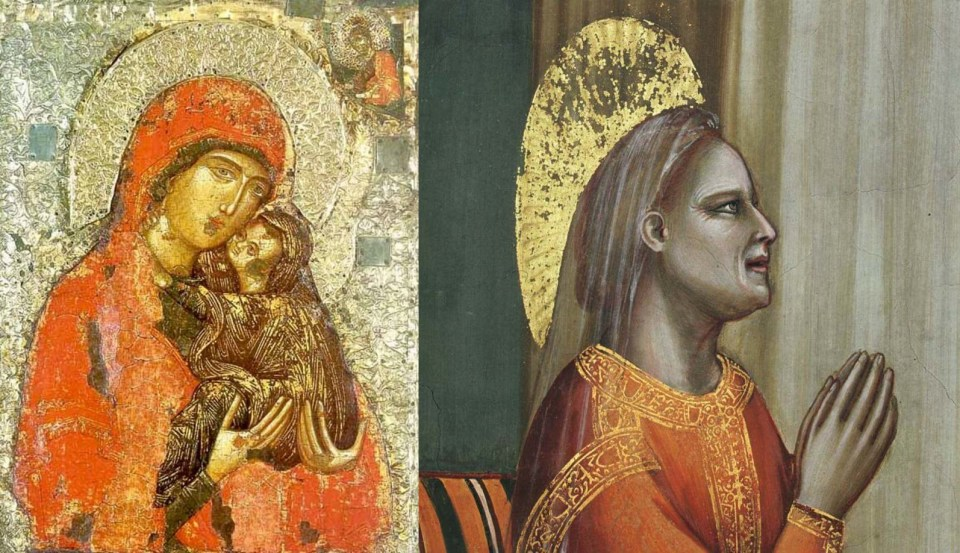"""Left: unknown Serbian master. Icon """"Saint Anne with the baby Mary"""". 14th century. Zagorsk Museum, Sergiev-Posad, Russia. Right: Giotto. Annunciation to Saint Anne. 1303-1305. Scrovegni Chapel in Padua, Italy."""