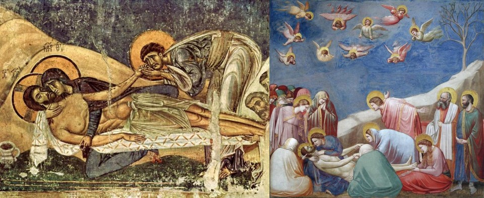 Left: Unknown master. Mourning for Christ. Fresco in the church of St. Panteleimon in Nerezi (former Byzantine territory), Macedonia. Second floor. 12th century Right: Giotto. Mourning for Christ. 1303-1305. Fresco in the Scrovegni Chapel in Padua, Italy. Wikimedia Commons.