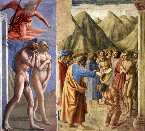 Frescoes by Masaccio in Brancacci Chapel, Florence. 1426-1427. Left: Expulsion from Paradise. Right: Baptism of the neophytes.